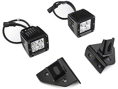 Rugged Ridge 3 in. Square LED Lights w/ Windshield Mounting Brackets (87-95 Wrangler YJ)