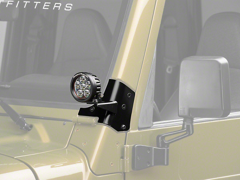 Rugged Ridge 3.5 in. Round LED Lights w/ Windshield Mounting Brackets (97-06 Wrangler TJ)