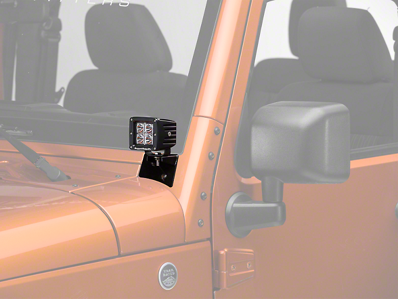 Rugged Ridge 3 in. Square LED Lights w/ Windshield Mounting Brackets (07-18 Wrangler JK)