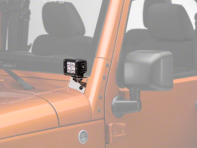 Rugged Ridge 3 in. Square LED Lights w/ Stainless Steel Windshield Mounting Brackets (07-18 Wrangler JK)