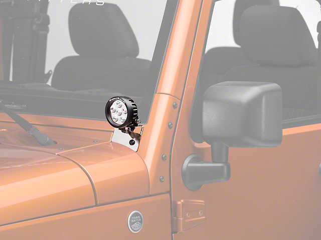 Rugged Ridge 3.5 in. Round LED Lights w/ Stainless Steel Windshield Mounting Brackets (07-18 Jeep Wrangler JK)