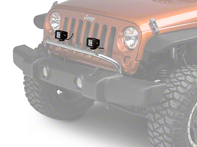 Rugged Ridge 3 in. Square LED Lights w/ Stainless Steel Front Bumper Light Bar (07-18 Wrangler JK)