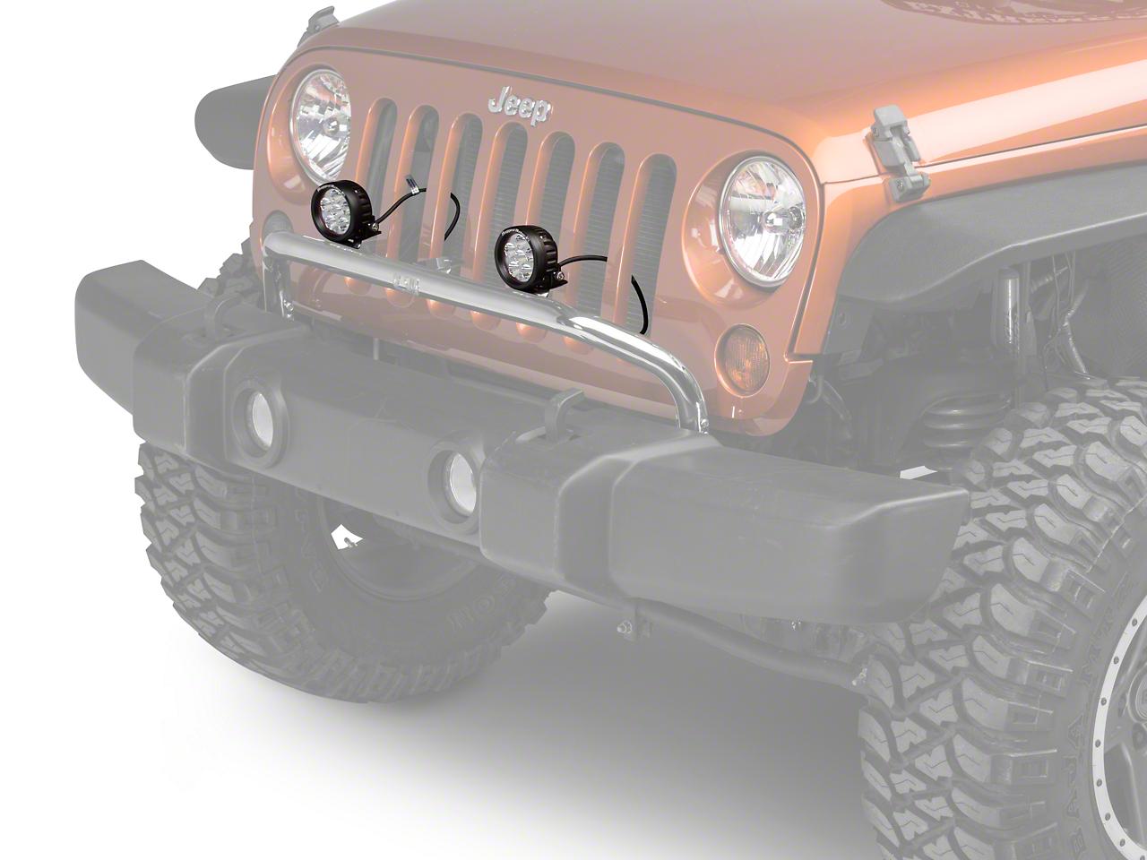 Rugged Ridge 3.5 in. Round LED Lights w/ Stainless Steel Front Bumper Light Bar (07-18 Jeep Wrangler JK)