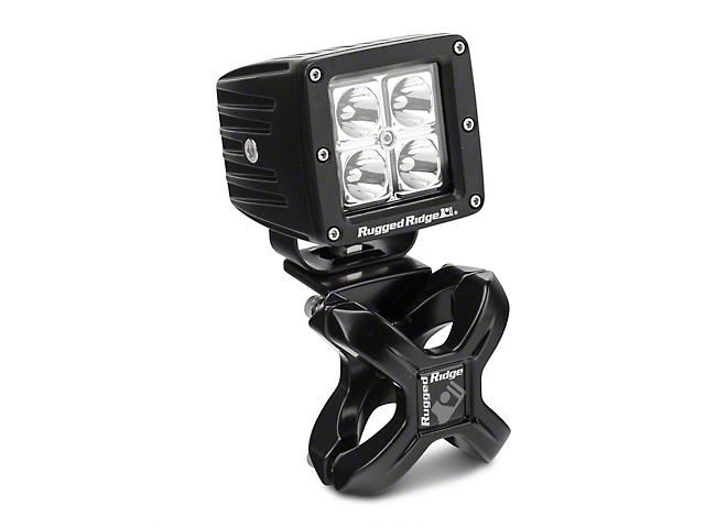 Rugged Ridge Black X-Clamp for 1.25-2 in. Tubing & 3 in. Square LED Light Kit (87-18 Wrangler YJ, TJ & JK)