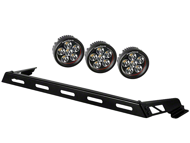 Rugged Ridge 3.5 in. Round LED Lights w/ Hood Mounted Light Bar (07-18 Jeep Wrangler JK)