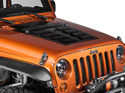 Rugged Ridge Louvered Steel Hood Vent Insert - Primer (07-18 Jeep Wrangler JK)
