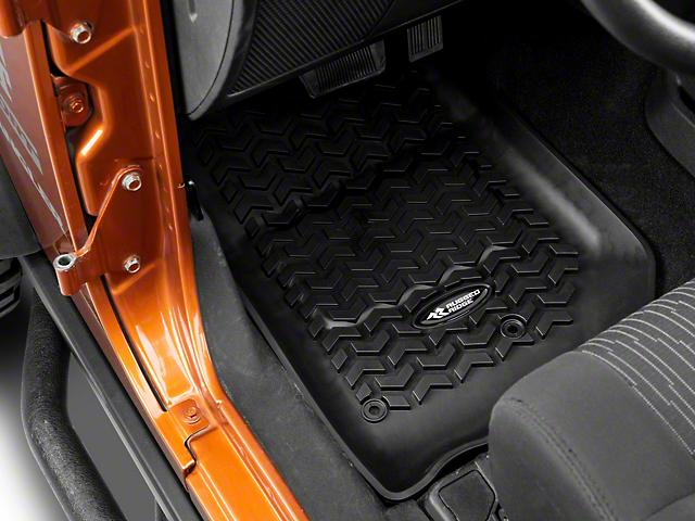 Rugged Ridge All-Terrain Front, Rear & Cargo Floor Mats - Black (11-18 Jeep Wrangler JK 2 Door)