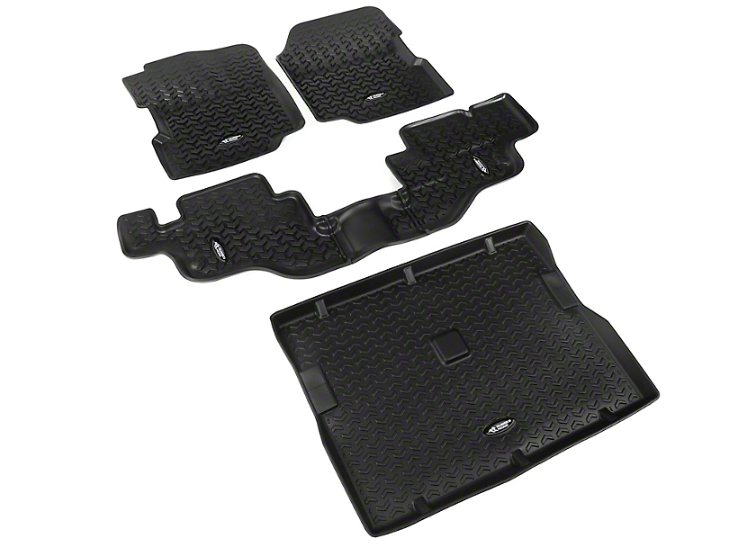 Rugged Ridge All-Terrain Front, Rear and Cargo Floor Mats; Black (87-95 Jeep Wrangler YJ)