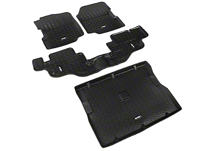 Rugged Ridge All Terrain Front, Rear & Cargo Floor Liners - Black (87-95 Wrangler YJ)