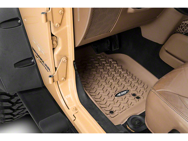 Rugged Ridge All-Terrain Front, Rear and Cargo Floor Mats; Tan (07-10 Jeep Wrangler JK 4 Door)