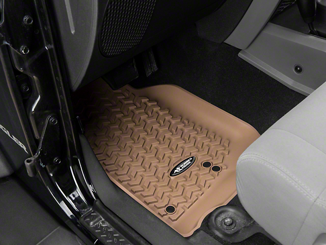 Rugged Ridge All-Terrain Front, Rear & Cargo Floor Mats - Tan (07-10 Jeep Wrangler JK 2 Door)