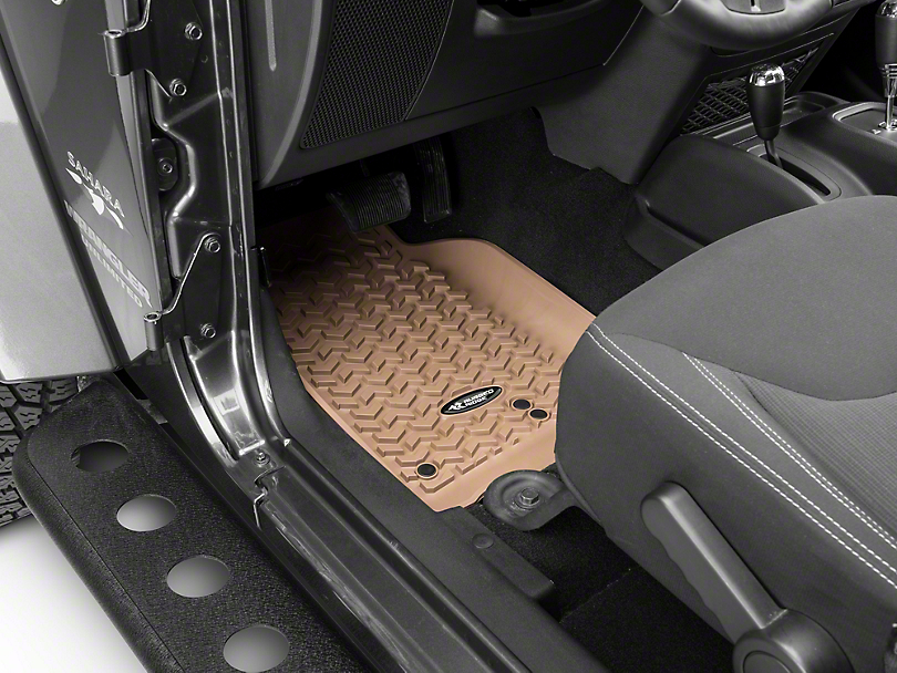 Rugged Ridge All-Terrain Front, Rear & Cargo Floor Mats - Tan (11-18 Jeep Wrangler JK 2 Door)