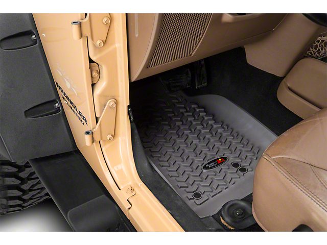Rugged Ridge All-Terrain Front, Rear and Cargo Floor Mats; Gray (11-18 Jeep Wrangler JK 4 Door)