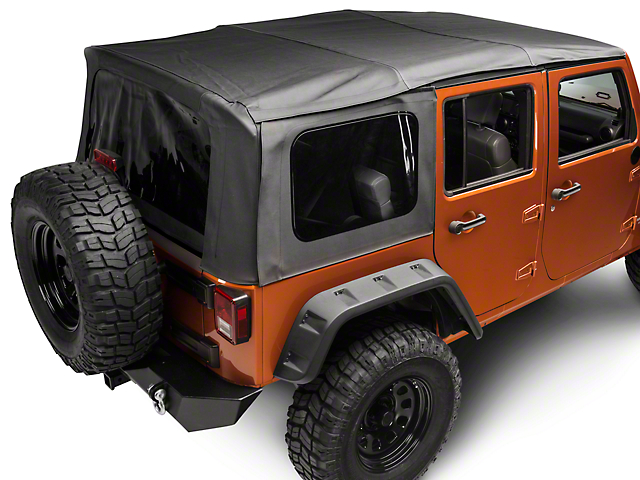 Rugged Ridge XHD Sailcloth Soft Top with Spring Assist and Tinted Windows; Black Diamond (07-09 Jeep Wrangler JK 4 Door)
