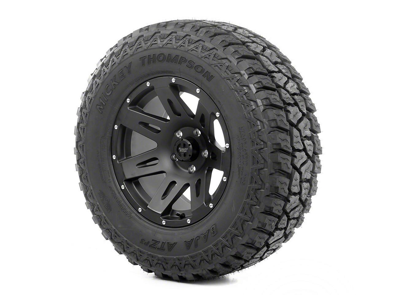 Rugged Ridge XHD Wheel 17x9 Black Satin and Mickey Thompson ATZ P3 305/65R17 Tire (07-12 Wrangler JK)