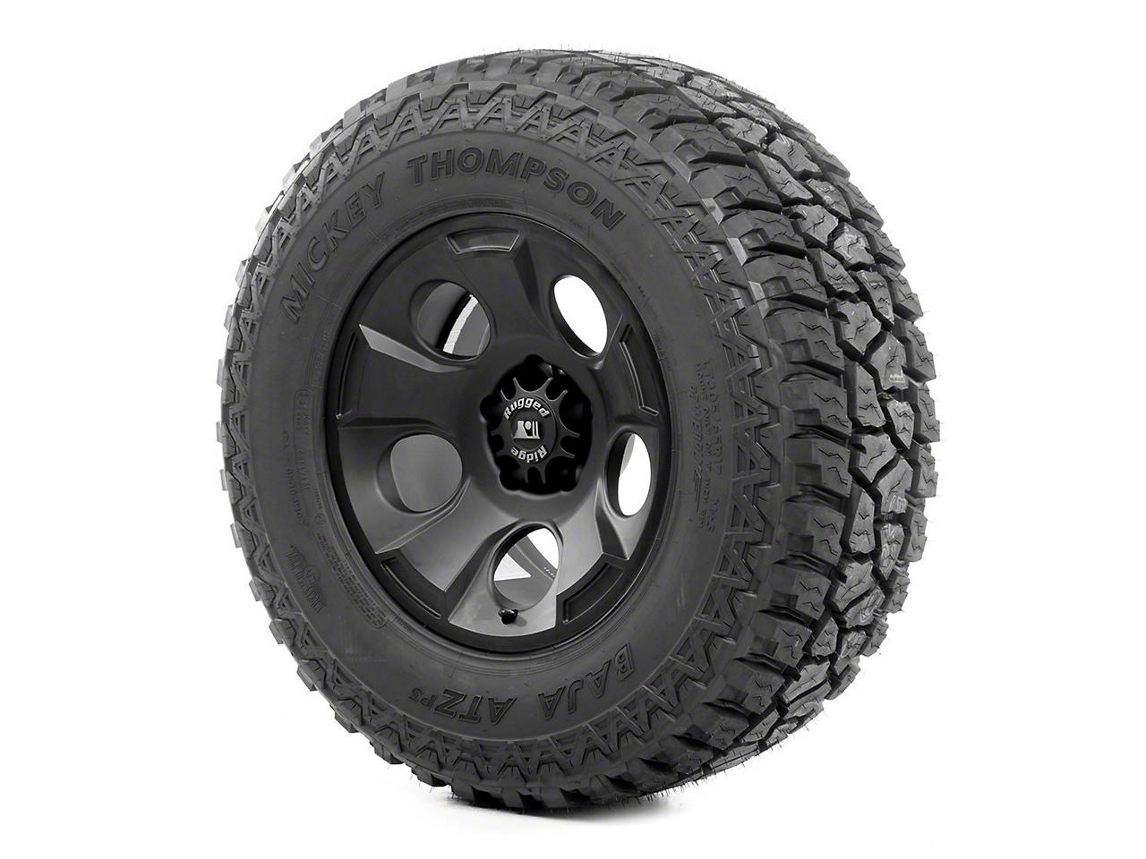 Rugged Ridge Drakon Wheel 17x9 Black Satin and Mickey Thompson ATZ 305/65R17 Tire (07-12 Wrangler JK)