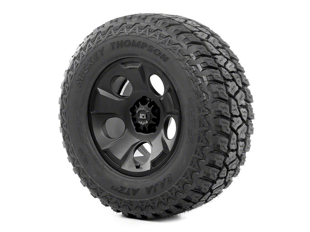 Rugged Ridge Drakon Wheel 17x9 Black Satin and Mickey Thompson ATZ P3 315/70R17 Tire (07-12 Jeep Wrangler JK)
