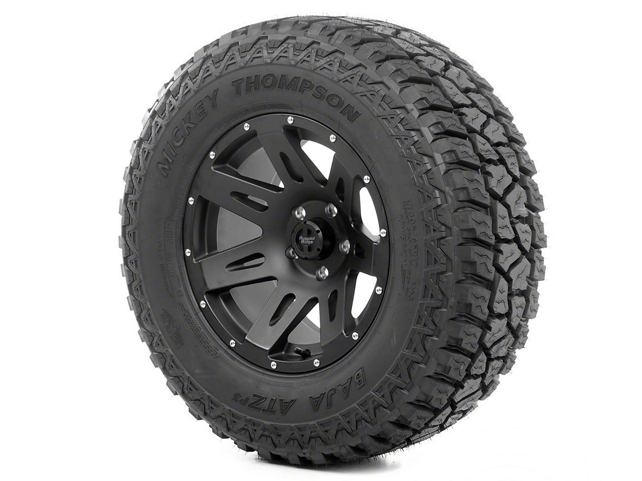 Rugged Ridge XHD Wheel 18x9 Black Satin and Mickey Thompson ATZ P3 305/60R18 Wheel - Tire (13-17 Wrangler JK)