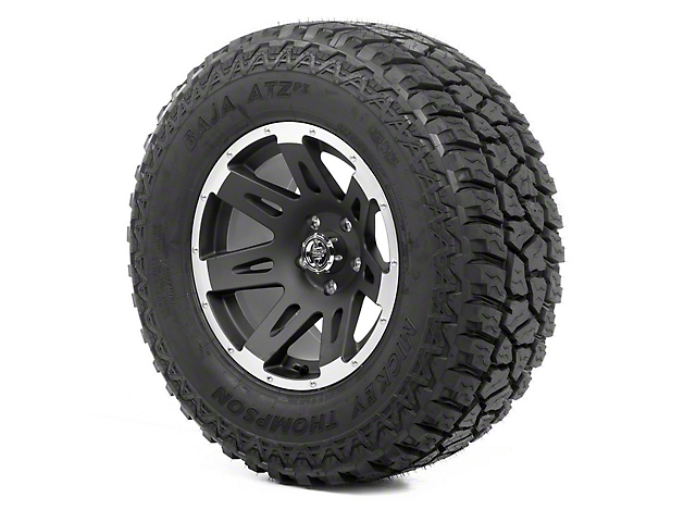 Rugged Ridge XHD Black Satin w/ Machined Lip 17x9 Wheel & Mickey Thompson ATZ P3 305/65R17 Tire Kit (07-18 Jeep Wrangler JK)