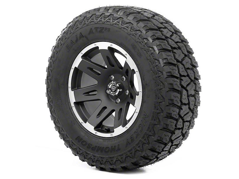Rugged Ridge XHD Black Satin w/ Machined Lip 17x9 Wheel & Mickey Thompson ATZ P3 305/65R17 Tire Kit (07-18 Jeep Wrangler JK)