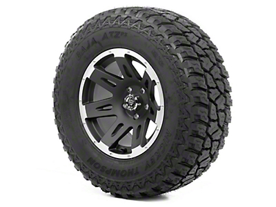Rugged Ridge XHD Wheel 17x9 Black Satin w/ Machined Lip and Mickey Thompson ATZ P3 305/65R17 Tire (13-18 Wrangler JK; 2018 Wrangler JL)