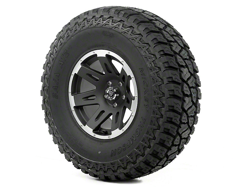 Rugged Ridge XHD Wheel 17x9 Black Satin w/ Machined Lip and Mickey Thompson ATZ P3 37x12.50x17 Tire (07-18 Jeep Wrangler JK)