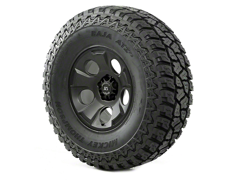 Rugged Ridge Drakon Wheel 17x9 Black Satin and Mickey Thompson ATZ P3 37x12.50x17 Tire (13-18 Jeep Wrangler JK; 2018 Jeep Wrangler JL)