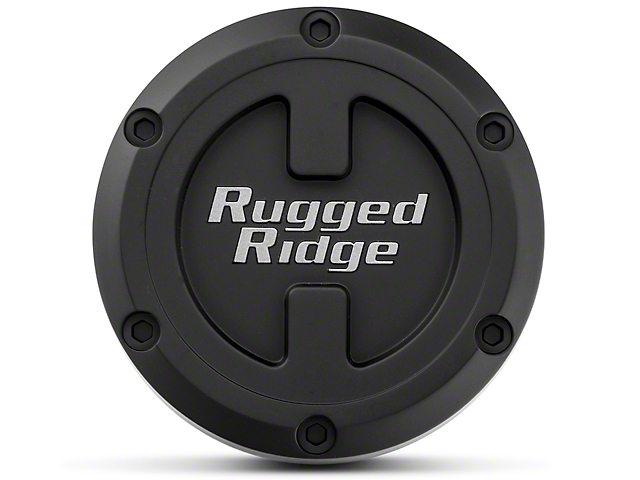 Rugged Ridge 17x9 XHD Wheel Center Cap; Black (07-20 Jeep Wrangler JK & JL)