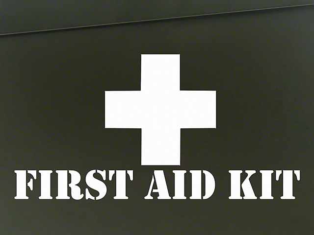 SEC10 First Aid Kit Decal; White (87-20 Jeep Wrangler YJ, TJ, JK & JL)