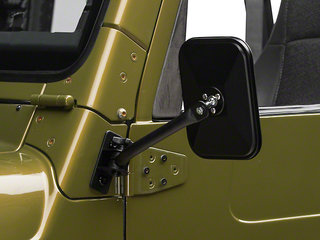 Barricade Quick Release Textured Black Rectangular Mirrors - Pair (97-06 Wrangler TJ)
