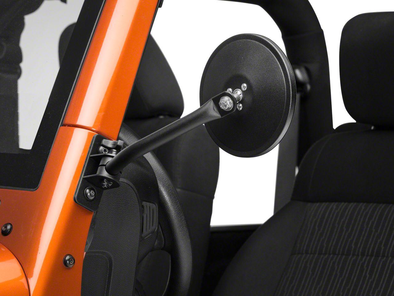 Rugged Ridge Quick Release Textured Round Mirrors - Black (97-18 Jeep Wrangler TJ & JK)