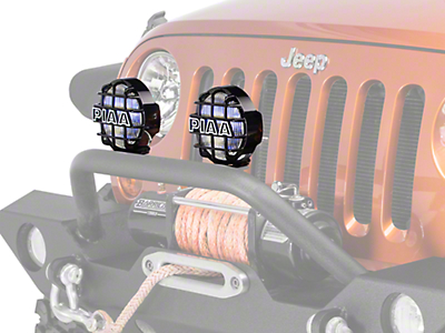 PIAA 540 Series 5 in. Round Ion Yellow Halogen Lights - Fog Beam - Pair (87-18 Wrangler YJ, TJ & JK)