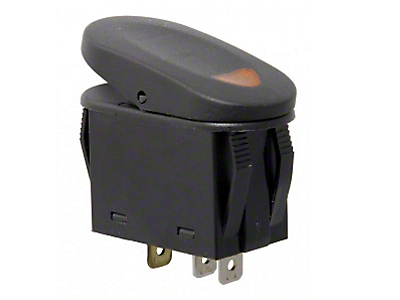 Rugged Ridge Two Position Rocker Switch w/ Indicator Light - Amber (87-18 Jeep Wrangler YJ, TJ, JK & JL)
