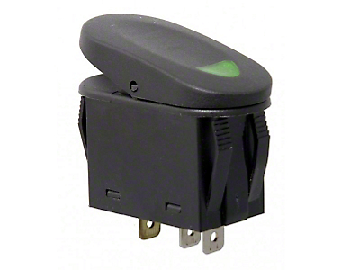 Rugged Ridge Two Position Rocker Switch w/ Indicator Light - Green (87-18 Jeep Wrangler YJ, TJ, JK & JL)