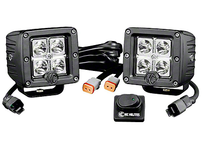 KC HiLiTES 3 in. C-Series C3 LED Light Cube - Spot Beam - Pair (87-18 Wrangler YJ, TJ, JK & JL)
