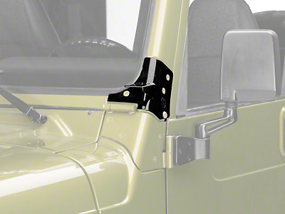 KC HiLiTES Windshield Hinge Mounting Brackets - Black (97-06 Wrangler TJ)
