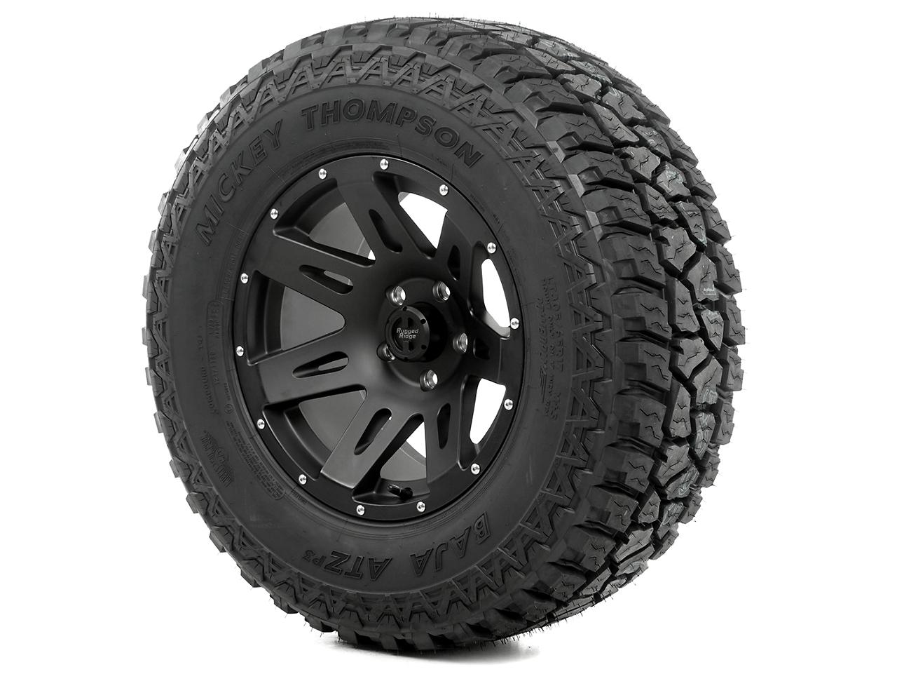 Rugged Ridge XHD Wheel 18x9 Black Satin and Mickey Thompson ATZ P3 305/60R18 Wheel - Tire Kit (07-12 Jeep Wrangler JK)