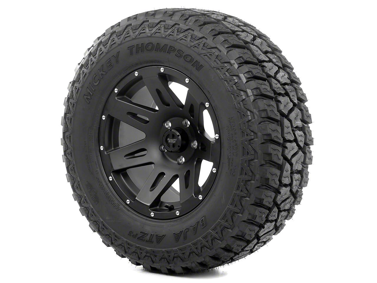Rugged Ridge XHD Wheel 17x9 Black Satin and Mickey Thompson ATZ P3 305/65R17 Tire Kit (13-18 Wrangler JK)