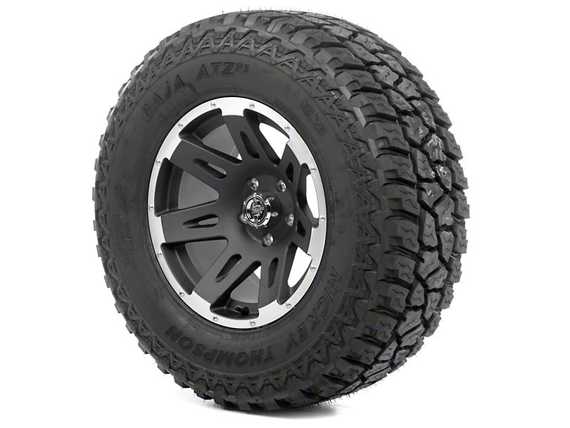 Rugged Ridge XHD Black Satin w/ Machined Lip 17x9 Wheel & Mickey Thompson ATZ P3 305/65R17 Tire Kit (13-18 Jeep Wrangler JK)