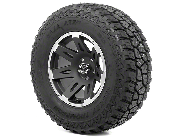 Rugged Ridge XHD Black Satin w/ Machined Lip 17x9 Wheel & Mickey Thompson ATZ P3 305/65R17 Tire Kit (13-18 Jeep Wrangler JK)