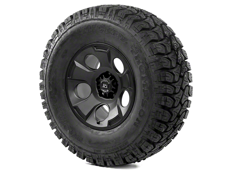 Rugged Ridge Drakon Black Satin 17x9 Wheel & Mickey Thompson ATZ P3 35x12.50R17 Tire Kit (13-18 Jeep Wrangler JK)