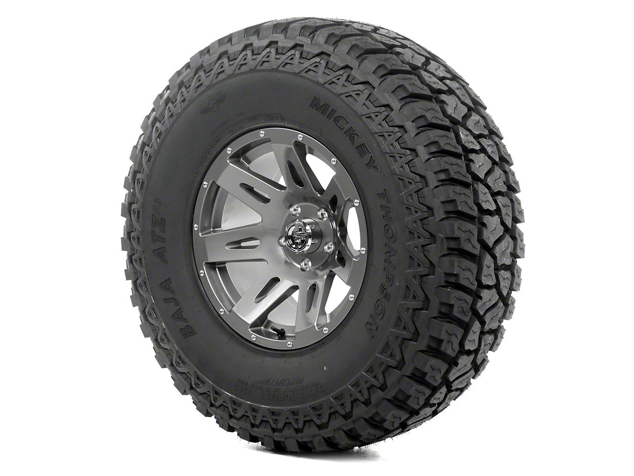 Rugged Ridge XHD Wheel 17x9 Gun Metal and Mickey Thompson ATZ P3 37x12.50x17 Tire Kit (13-18 Jeep Wrangler JK; 2018 Jeep Wrangler JL)