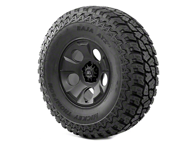 Rugged Ridge Drakon Black Satin 17x9 Wheel & Mickey Thompson ATZ P3 37x12.50R17 Tire Kit (13-18 Jeep Wrangler JK)