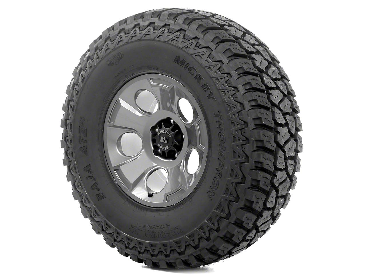 Rugged Ridge Drakon Wheel 17x9 Gun Metal and Mickey Thompson ATZ P3 37x12.50x17 Tire Kit (13-18 Jeep Wrangler JK; 2018 Jeep Wrangler JL)