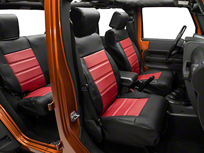 Alterum Leatherette Seat Covers - Black w/ Torch Red Inserts (08-10 Jeep Wrangler JK 4 Door)