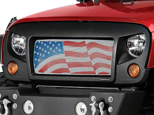 Rugged Ridge Spartan Grille Insert - American Flag (07-18 Jeep Wrangler JK)