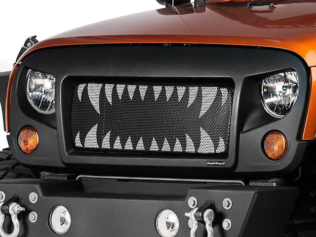 Rugged Ridge Spartan Grille Insert - Land Shark (07-18 Jeep Wrangler JK)