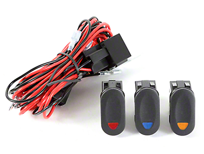 Rugged Ridge Wiring Harness for 3 HID Offroad Fog Lights w/ 3 Rocker Switches (87-18 Wrangler YJ, TJ & JK)