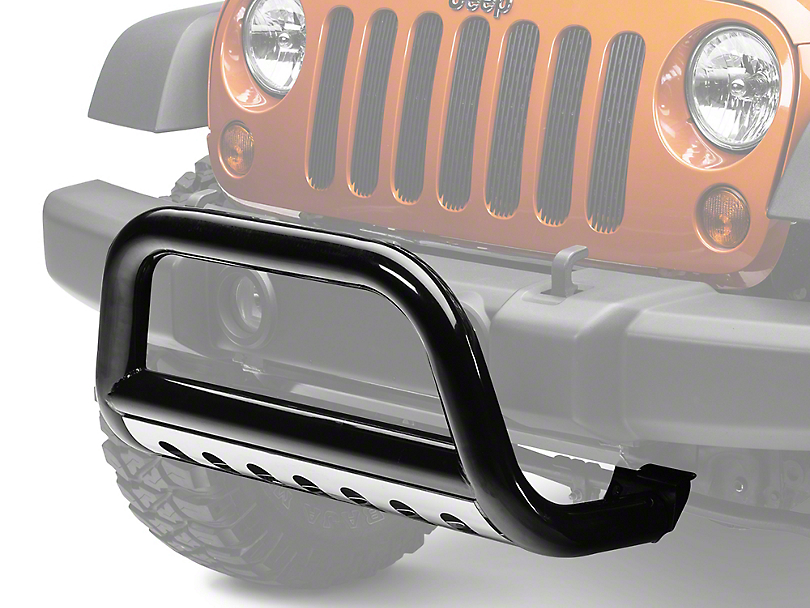 Rugged Ridge 3 in. Black Bull Bar w/ Stainless Steel Skid Plate (07-09 Jeep Wrangler JK)