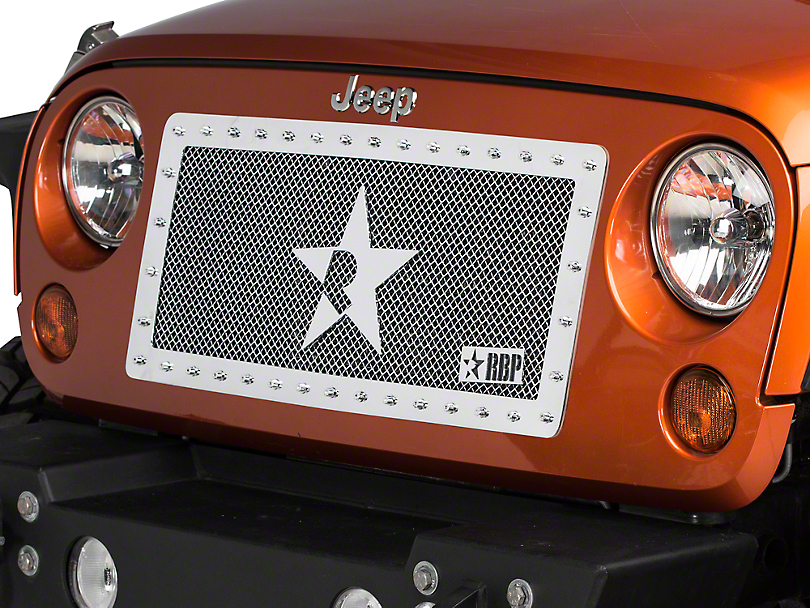 RBP RX-Series Studded Grille - Chrome (07-18 Jeep Wrangler JK)
